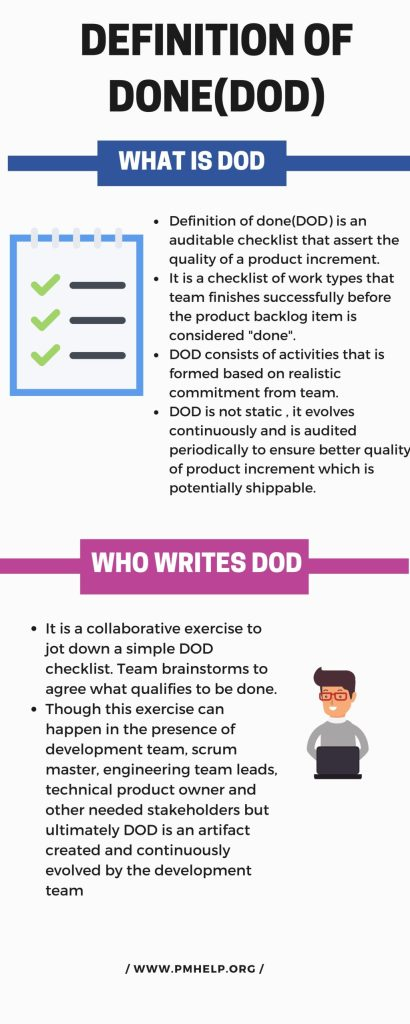 what is definition of done; who writes DOD; where to write DOD;DOD