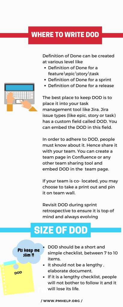 where to write defination of done(DOD)?Size of DOD
