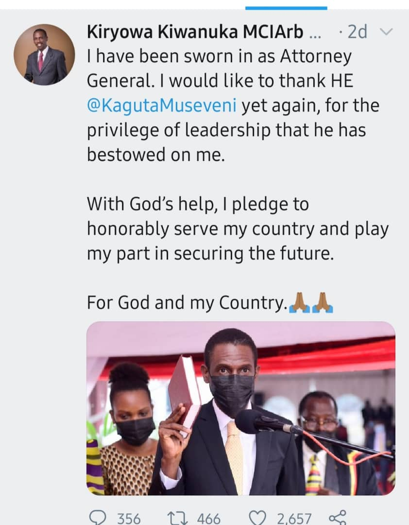 The new Attorney General Kiryowa Kiwanuka pledged to serve with dignity