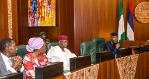 …Acting President Yemi Osinbajo, SAN; Chief of Staff Abba Kyari; Head of Civil Service; Mrs. Winifred Oyo-Ita; NSA, Maj. Gen. Babagana Mungonu during the meeting…