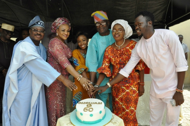From left: Gov Abiola Ajimobi of Oyo state, his wife, Florence, celebrant's daughter, Niniola, celebranthis wife, Bisi and son, Olufela…