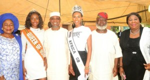 Governor State of Osun, Ogbeni Rauf Aregbesola (3rd left), his deputy, Otunba Titi-Laoye Tomori (left), Chief Judge of Osun, Justice Adepele Ojo right), Deputy Speaker Osun House Assembly, Hon Akintunde Adegboye (2nd right), Miss Africa, Sarah Jegede (3rd right) and Miss Osun, Oluwakemi Odeyin (2nd left), during the Planting of 60 seedling of Trees by OSBC in commemoration of Governor Aregbesola birthday, at the OSBC premises…recently…