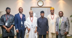 …Acting President Yemi Osinbajo, SAN; the Olowo of Owo, Oba Olateru Olagbegi and other members of the Oba's delegation during the visit…