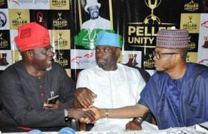 From the left: Oyo State Commissioner for Information, Culture and Tourism, Mr Toye Arulogun, Commissioner for Youth and Sport, Barr. Yomi Oke and son of late Professor Peller and chairman, Aquila Group, Mr Shina Peller during a press conference to announce Peller Unity Cup arrangements…