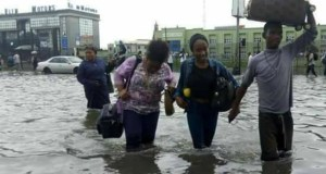 Lagosians contending with flood water
