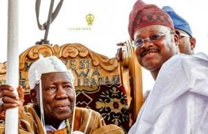 ...The Olubadan of Ibadan, Oba Saliu Adetunji, left, with Governor Abiola Ajimobi...(qed.com photo)