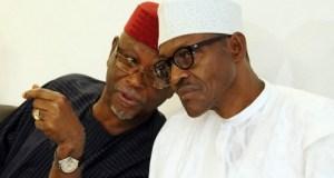 Chief John Odigie Oyegun, left, with President Muhammadu Buhari...