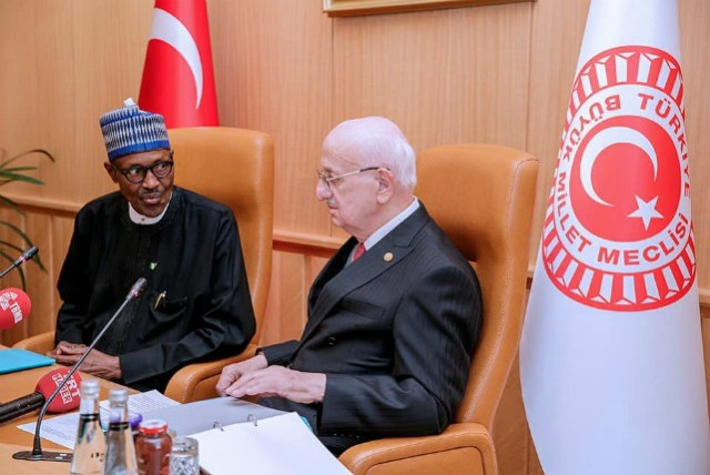 President Buhari meets with the Speaker of the Grand National Assembly H.E. Ismail Kahraman during his Official Working Visit in Ankara, Turkey