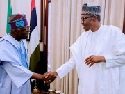 President Muhammadu Buhari, right, with Senator Bola Ahmed Tinubu