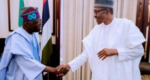 President Muhammadu Buhari, right, with Senator Bola Ahmed Tinubu