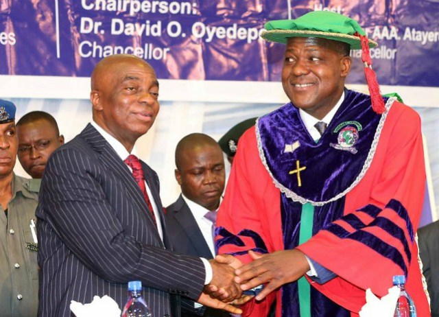 Hon Yakubu Dogara, right, with Bishop David Oyedepo at the graduation ceremony...