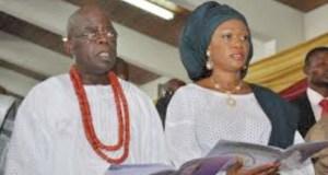 Senator Oluremi Tinubu and her husband, Asiwaju Bola Ahmed Tinubu...at a church programme...