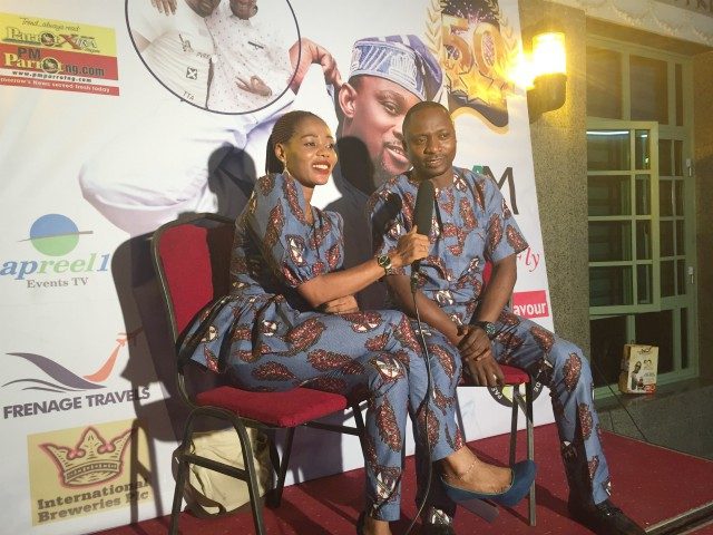 ...popular red carpet hostess, Sade, left, with hard working broadcaster, Adebayo Faleke...
