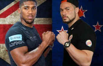 Anthony Joshua, left, with Joseph Parker...