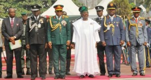 From left, Representative of Chief Justice of Oyo State, Justice Ladiran Akintola, Oyo State commissioner of police, CP Abiodun Odude, GOC 2 Division Nigerian Army, Major General Martins Abraham, Oyo State governor, Senator Abiola Ajimobi, Commander, Nigerian Airforce Detachment Ibadan, Air Commodore Olalekan Lawal and Chairman, Nigerian Legion Oyo State Command, Deacon Michael Fajimi at the event…