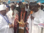 From the left: Rector, Federal Polytechnic Ilaro, Arch. Olusegun Aluko, Oluwo of Iwo land, Oba Abdulrasheed Akanbi and Prof. Sabit Ariyo Olagoke during the presentation of books authored by Prof. Olagoke…