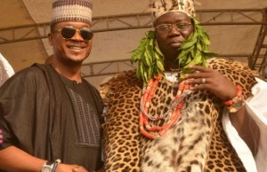 Shina Peller, right, with the new Aare Ona Kakanfo, Dr Gani Adams - after his installation...