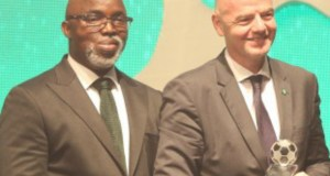 Amaju Pinnick, left, with FIFA Boss...