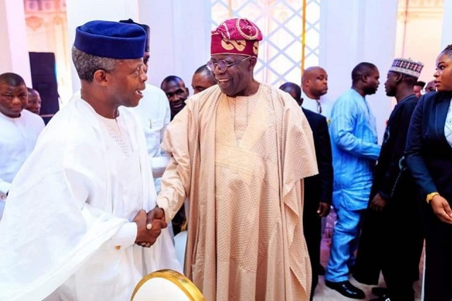 Vice President Yemi Osinbajo, left, with the national leader of APC, Asiwaju Bola Ahmed Tinubu...