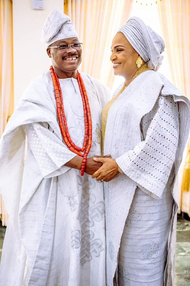 The ecstatic parents of the groom, Senator Abiola Ajimobi and his charming wife, Dr Florence...