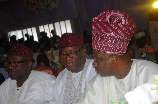 L-R: A former Governor of Ekiti State, Chief Niyi Adebayo; Minister of Mines and Steel Development, Dr. Kayode Fayemi; and Ogun State Governor, Senator Ibikunle Amosun
