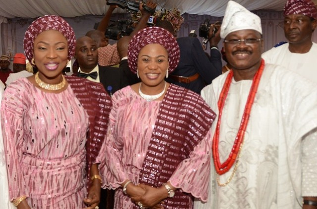 L-R: Wife of Lagos State Governor, Mrs. Bolanle Ambode; Wife of Osun State Governor, Mrs. Sherifat Aregbesola; and Groom's father, Governor Abiola Ajimobi of Oyo State