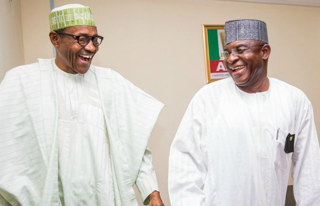 President Muhammadu Buhari, left, with Senator David Mark