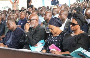 L-R: Oyo State Governor, Senator Abiola Ajimobi; Ondo State Governor, Mr. Rotimi Akeredolu; Wife of Oyo State Governor, Chief Florence Ajimobi; and Mrs. Abosede Adeyemo, widow of the late Speaker of the Oyo State House of Assembly, Rt. Hon. Michael Adeyemo, during the service of songs…