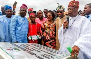 Governor State of Osun, Ogbeni Rauf Aregbesola (2nd right); Hon minister of Information Culture And Tourism, Alh. Lai Mohammed; (right); Deputy Governor Titilayo Laoye-Tomori (3rd right) and others, during the event…