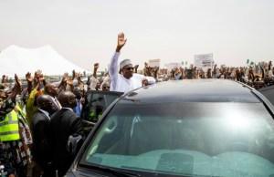 President Muhammadu Buhari, with teeming supporters in Jigawa State...