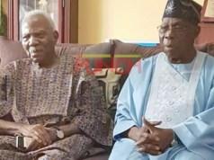 Ex-President Olusegun Obasanjo, right, with Pa Reuben Fasoranti...during the visit...