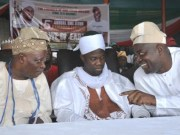 L-R: Former governor of Oyo State, Senator Rasheed Adewolu Ladoja, Guest lecturer, Fadilat Sheik (Dr) Faruq Onikijipa and the Chief Host, Engr Seyi Makinde during the lecture held within NTA premises, Ibadan…
