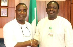 King Wasiu Ayinde Marshal, left, with Femi Adesina...