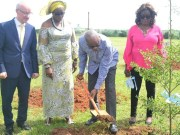 (From left) Mr. Andrew Jedras, Principal, Atlantic Hall, Mrs. Maureen Akpofure-Awobokun, PTA Chairman, Atlantic Hall; Dr. Kweku Tandoh, Executive Chairman, Lagos State Sports Commission and Mrs. Taiwo Taiwo, member Board of Trustee, Atlantic Hall at the tree planting exercise to flag-off the construction of the ultra-modern multi-million naira Atlantic Hall Sports Complex project at the school premises in Epe, Lagos…recently…