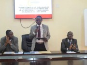 The Vice Chancellor of the Technical University, Professor Ayobami Salami, middle, addresses the meeting..