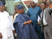 L-R: Oyo State Commissioner for Health, Dr. Azeez Adeduntan; state Governor, Senator Abiola Ajimobi; Contractor, Mr. Ayo Majolagbe; and Permanent Secretary, Ministry of Health, Dr. Olayemisi Iyiola, during the inspection of World Bank-assisted Jericho Paediatric and Maternity Centre, a project of the state government, in Ibadan...