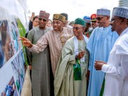 President Muhammadu Buhari with Kaduna State Governor Nasir El-Rufai, FCT Minister Muhammed Bello, Hon Rotimi Amaechi, Transportation Minister and SGF Boss Mustapha during the inspection of the First Phase of the project…