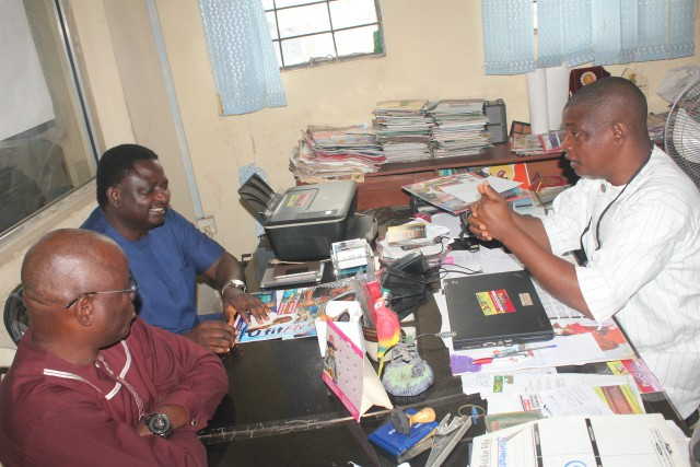 L-R: Yinka Fabowale, ex-The Sun Editor, Chief Femi Adesina and Olayinka Agboola during the interview session...