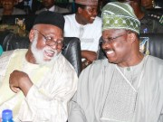 Governor Abiola Ajimobi of Oyo State, right, with General Abdulsalami Abubakar...at the event...