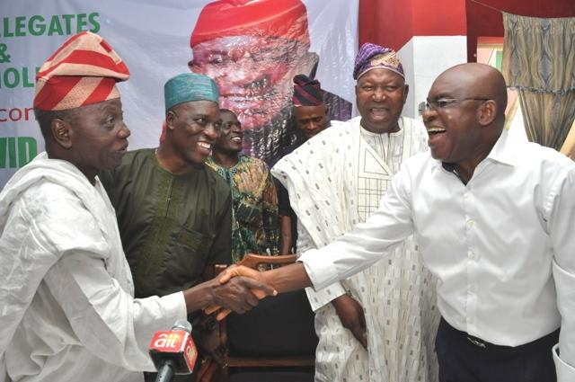 L-R: PDP's Presidential aspirant, David Mark, Oyo State PDP Chairman, Kunmi Mustapha, Secretary, Wasiu Adeleke and Dr. Saka Balogun inside the party's Secretariat in Ibadan…