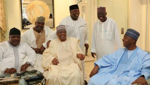 Dr. Bukola Saraki and his team during General Ibrahim Badamosi Babangida, in Minna, Niger State…