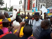 Gbenga Olawepo-Hashim...with his supporters at his party's Secretariat...