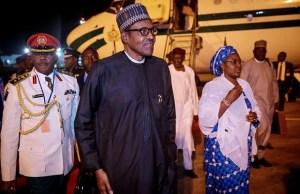 President Muhammadu Buhari and wife, Aisha on arrival in Abuja, Nigeria's capital city...