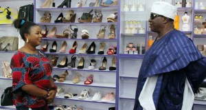 The proprietress of the outlet, Ronke and her father, Chief Olanihun Ajadi during the inspection of the outlet…