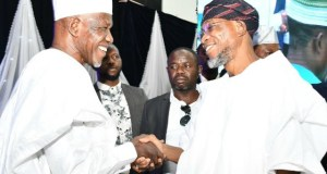 Governor State of Osun, Ogbeni Rauf Aregbesola (right), exchanging pleasantries with Sheikh (Dr) Muhyideen Ajani Bello, during the event…