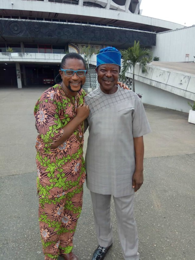 King Sunny Ade, right, with one of the sons of the late comedian, Mr Emmanuel Adejumo...at the National Theatre over the weekend…