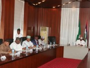 President Muhammadu Buhari, right, with some of the governors during the meeting...