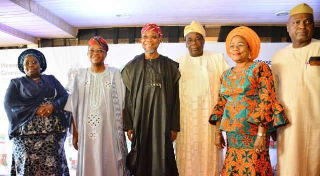 Osun State Governor, Ogbeni Rauf Aregbesola (3rd left); Osun Governor Elect, Mr Gboyega Oyetola (2nd left): Osun deputy Governor, Otunba Grace Titi-Laoye Tomori (2nd right); Lagos State deputy governor, Mrs Idiat Oluranti Adebule (left); Oyo State deputy governor, Otunba Moses Adeyemo (3rd right) and Secretary to the State Government of Ekiti, Abiodun Oyebanji, during the meeting…