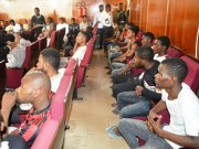 ...the suspects while being arraigned...