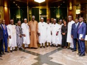 President Muhammadu Buhari, middle, with the ECOWAS Parliament team...